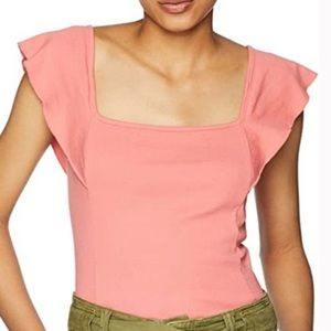 ANTHRO Three Dots Flutter Sleeve Square Neck Top